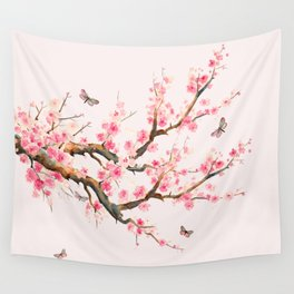 Pink Cherry Blossom Dream Wall Tapestry