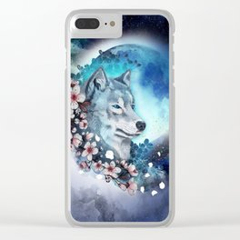 wolf and sakura in the moolight Clear iPhone Case