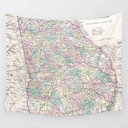 Vintage Map of Georgia (1855) Wall Tapestry