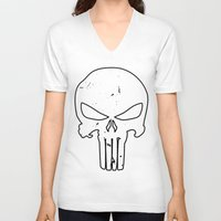 punisher V-neck T-shirts featuring The Punisher by sokteulu