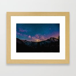 PURPLE MILKYWAY OVER THE MOUNTAINS Framed Art Print