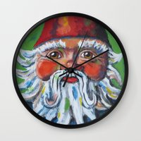 gnome Wall Clocks featuring Garden Gnome  by Juliette Caron
