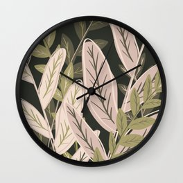 Leafy Plants in Pink and Green Wall Clock