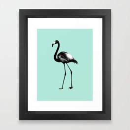 Black Flamingo on Mint #1 #tropical #decor #art #society6 Framed Art Print