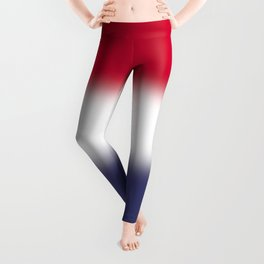 Red White and Blue Gradient Ombré Leggings