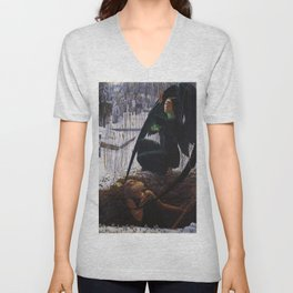 The Death of the Grave Digger by Carlos Schwabe Unisex V-Neck