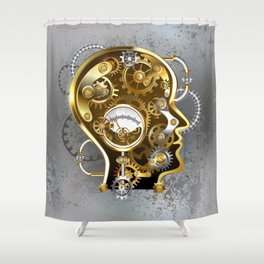 Steampunk Head with Manometer Shower Curtain