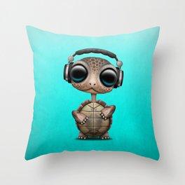 Cute Baby Turtle Deejay Wearing Headphones Throw Pillow