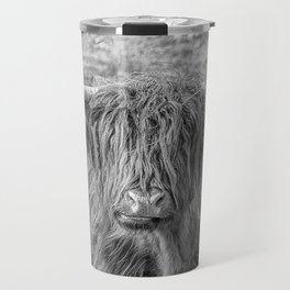Black and white big Scottish Highland cow Travel Mug
