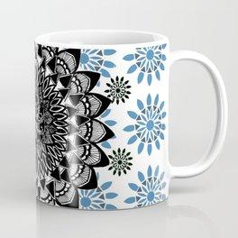 Black Hand-Drawn Mandala on Digital Mandala Textile Coffee Mug