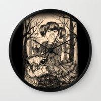 fairy tale Wall Clocks featuring Fairy tale by Paula Duta
