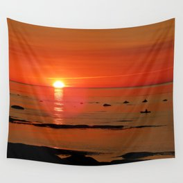 Kayaker and the Setting Sun Wall Tapestry