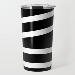 Abstract black & white Lines Stripes Pattern - Mix and Match with Simplicity of Life Travel Mug