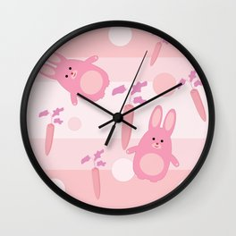 pink rabbit Wall Clock