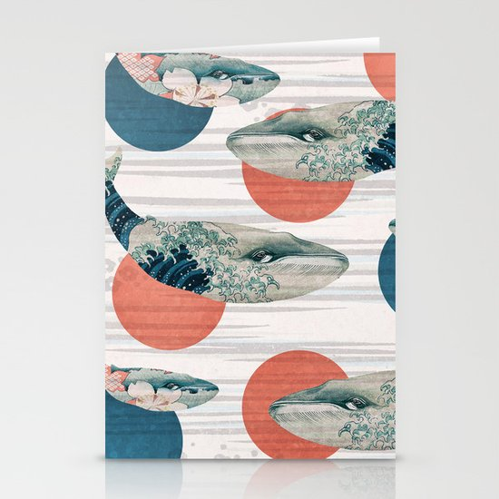 Whales and Polka Dots Stationery Cards