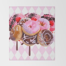CHOCOLATE & PINK  STRAWBERRY GLAZED DONUTS ART Throw Blanket