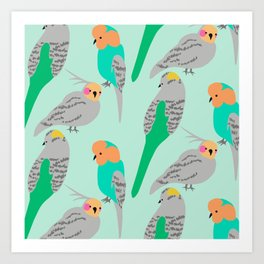 The Birds (green + orange) Art Print
