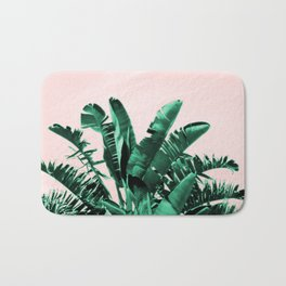 Turquoise Banana and palm Leaves Bath Mat