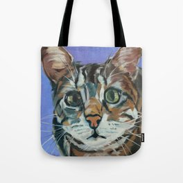 Green Eyed Cat Portrait Tote Bag