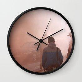 Red Smoke Streets Wall Clock