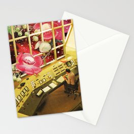 Observing what's out there, a space sci fi collage Stationery Cards