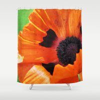 poppy Shower Curtains featuring POPPY by Teresa Chipperfield Studios