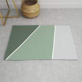 Diagonal Color Block in Green and Gray Rug