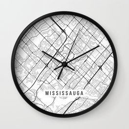 Mississauga Map, Canada - Black and White Wall Clock