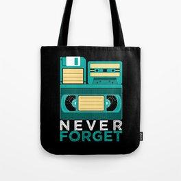 Never Forget | Retro VHS Cassette Tape Floppy Disk Tote Bag
