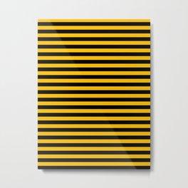 Amber Orange and Black Horizontal Stripes Metal Print