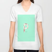 letters V-neck T-shirts featuring Letters by Paloma