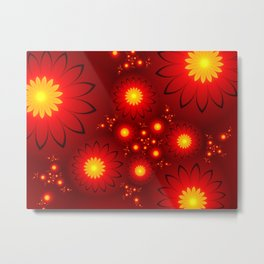 Shining Red and Yellow Flowers, Fractal Art Metal Print