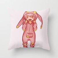 onesie Throw Pillows featuring Onesie by Hetty's Art