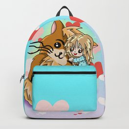 Cute cartoon girl hugging her huge ginger cat Backpack