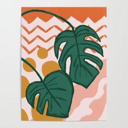Monstera Split Leaf in Sunrise Poster