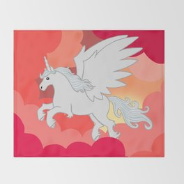 Alicorn at Sunset Throw Blanket