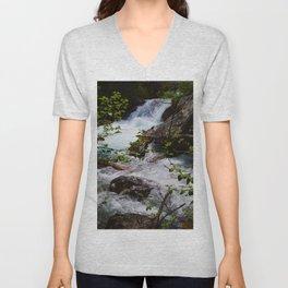 Geraldine Waterfall located in Jasper National Park Unisex V-Neck
