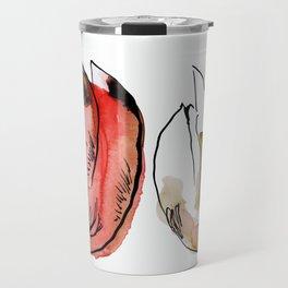 Flowers in Red Travel Mug