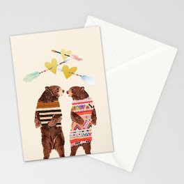 Dancing Bear Couple in Love Stationery Cards