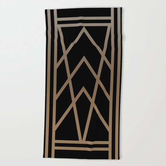 BLACK AND GOLD 2 (abstract art deco geometric) Beach Towel