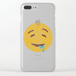 Emoji Art Calligraphy :Drooling face Clear iPhone Case