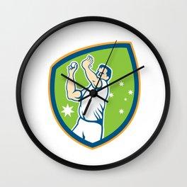 Cricket Fast Bowler Bowling Ball Shield Cartoon Wall Clock