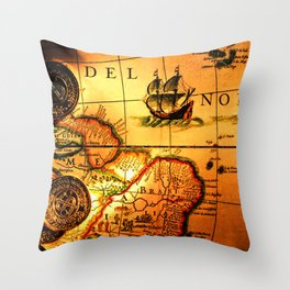 map sea Throw Pillow