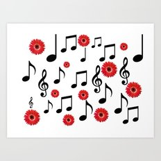 Musical Notes & Red Gerberas Art Print