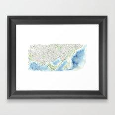 Toronto Canada Watercolor city map Framed Art Print