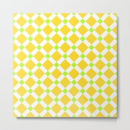 Bright neon yellow, green and white square ornament pattern Metal Print