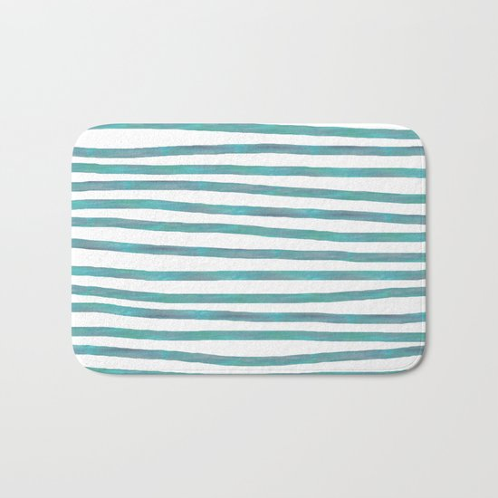 Ocean Green Hand-painted Stripes Bath Mat