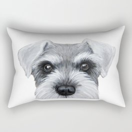Schnauzer Grey&white, Dog illustration original painting print Rectangular Pillow