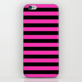 Hot Pink and Black Stripes iPhone Skin