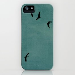 GEESE FLYING - TEAL iPhone Case